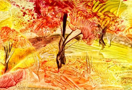 watercolors, autumn landscape photo
