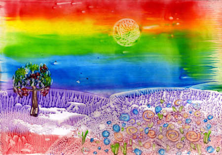 witchery: watercolors landscape with rainbow