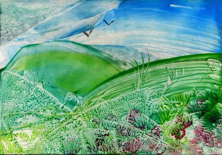 Watercolor landscape photo
