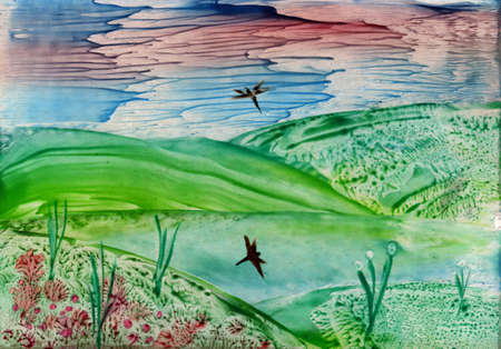 watercolors landscape mountains and lake photo