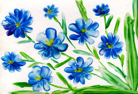encaustic: blue flowerses on white background