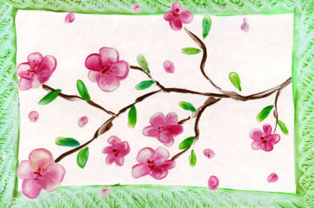 encaustic: rose flowerses in green frame Stock Photo
