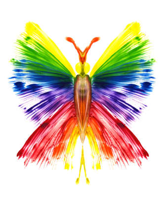 messy paint: Watercolor the butterfly in the form of a rainbow Stock Photo