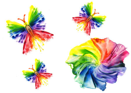 watercolor an abstract flower and  butterfly on a white background Stock Photo