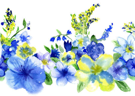 blue silk: watercolor dark blue and yellow flowers on a white background
