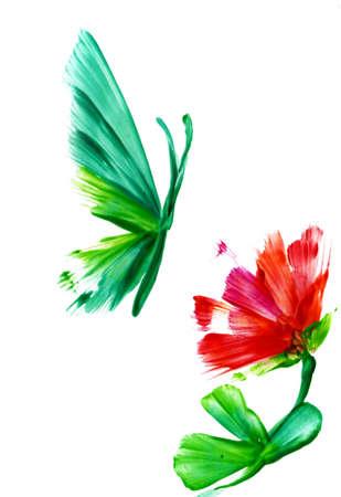 mariposa azul: acuarela de una flor abstracta y butterflyon un fondo blanco Foto de archivo