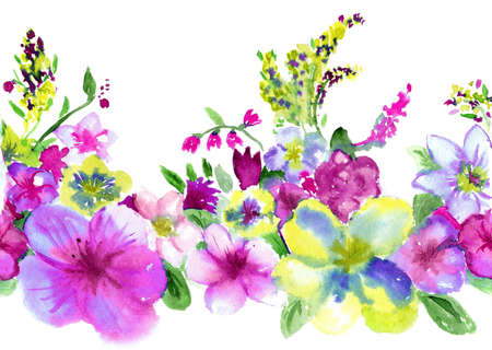 watercolors repetition lilac and yellow flowerses on white background Stock Photo
