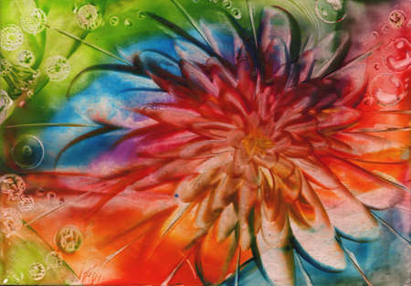 encaustic: watercolors abstract bright flower as background