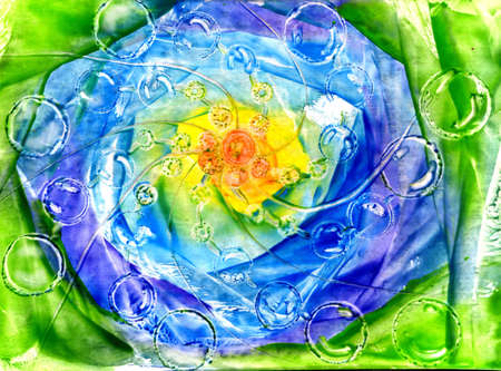 heals: watercolor abstract landscape, space, bubbles