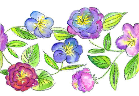 flowerses: watercolors repetition lilac and blue flowerses on white background