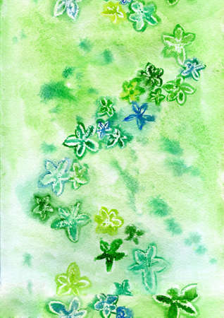 watercolor green flowers on a green background repetition photo