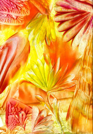 encaustic: watercolors abstract bright  yellow flower as background