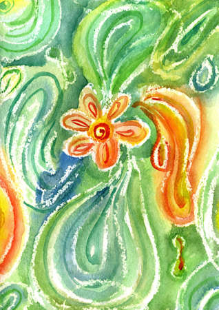 watercolors abstract drawing with flower on green background Stock Photo - 14748174
