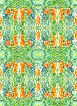 watercolors repetition abstract drawing with flower on green background Stock Photo