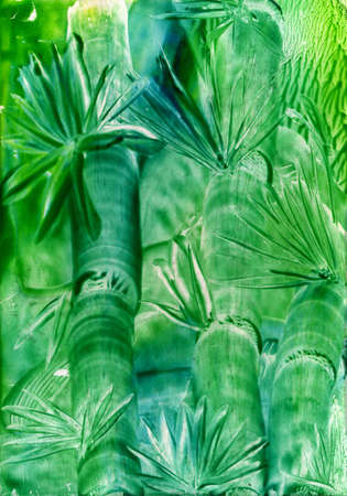watercolors abstract green background bamboo