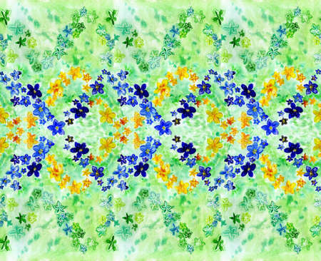 watercolor dark blue and yellow flowers on a green   background photo
