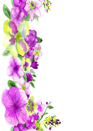 june: watercolor purple and yellow flowers on a white background