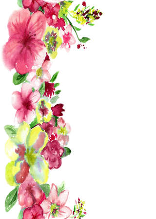 watercolor red and yellow flowers on a white background Stock Photo