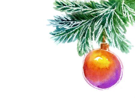 christmas watercolor: Christmas ball hanging on a branch,