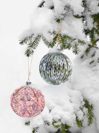 Christmas Background with Knitted Ball.
