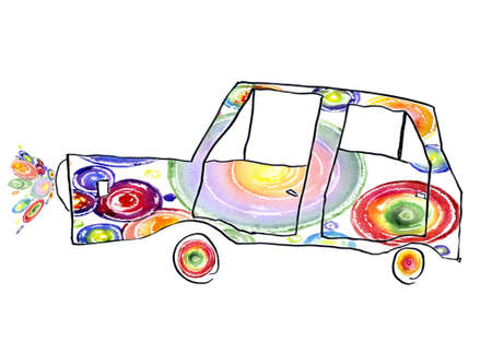 varicoloured: baby drawing of the varicoloured machine insulated on white background