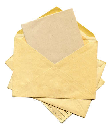 Old envelope isolated on a white background Stock Photo