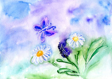 butterfly and flower on background blue sky Stock Photo - 18172203
