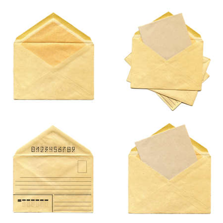 collage Old envelope isolated on a white background Stock Photo - 18253805