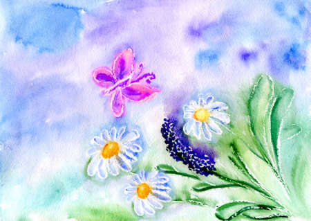 butterfly and flower on background blue sky Stock Photo - 18577775