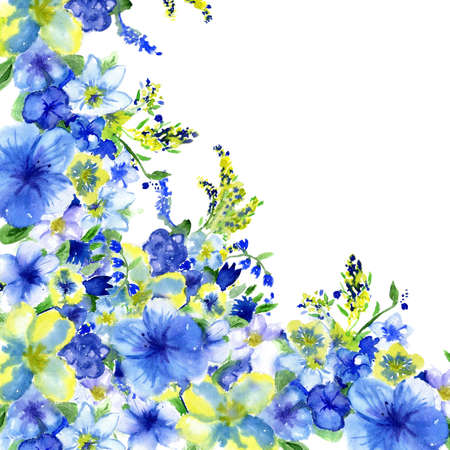 blue flowers: watercolor dark blue and yellow flowers on a white background