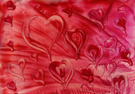 corazones: Watercolor heart on a red background