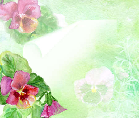 flowerses: watercolors flowerses Viola background for text