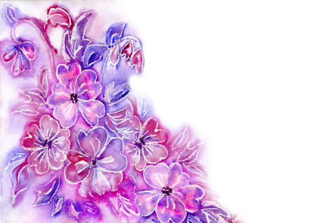 watercolor lilac flowers a background for the text photo
