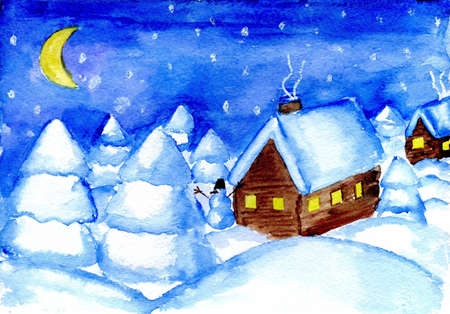 Winter cottages against the pine forest in snow  watercolor  photo