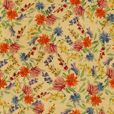 seamless pattern: watercolor flowers seamless pattern Stock Photo