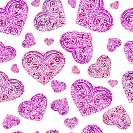 watercolor, repetition of hearts on a white background
