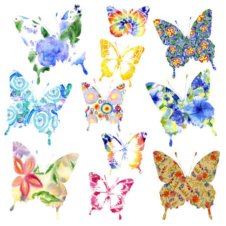 to flit: Collection watercolor butterflies  for design isolated on white Stock Photo