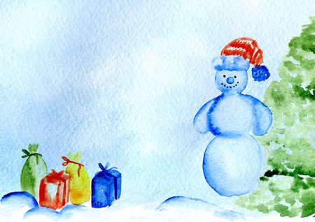 decorates: watercolor card Merry Christmas and Happy New Year, watercolor the snowman decorates a Christmas tree
