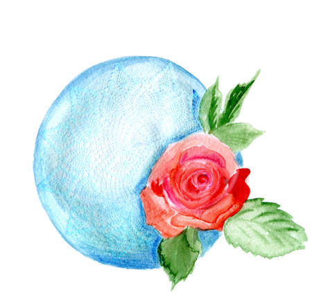 lies: watercolor. rose on a knitted sadfetka. flower of a rose lies on a blue sphere