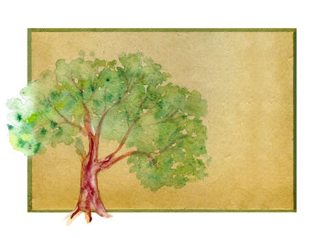 background for the text. watercolor  tree on old paper