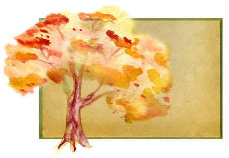 watercolor autumn tree. watercolor  tree on old paper for the text. Stock Photo