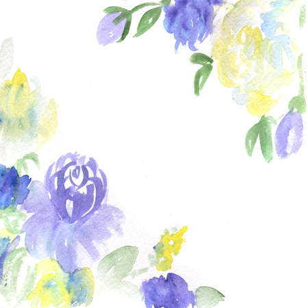 watercolor dark blue and yellow flowers