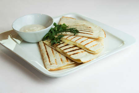 Quesadillas with cheddar Stock Photo