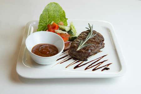 fresh farm organic rib steak with vegetables