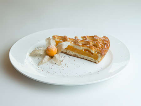 apricot pie on a white plate