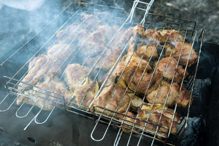 Grilled meat roasting on coals with fragrant smoke Stockfoto - 124868497