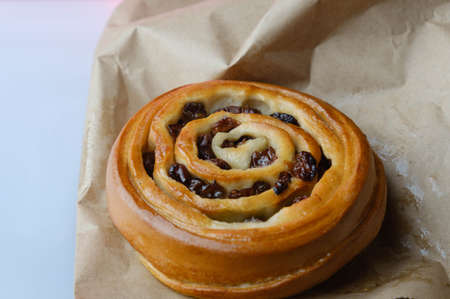 Sweet baked snail with raisins Archivio Fotografico