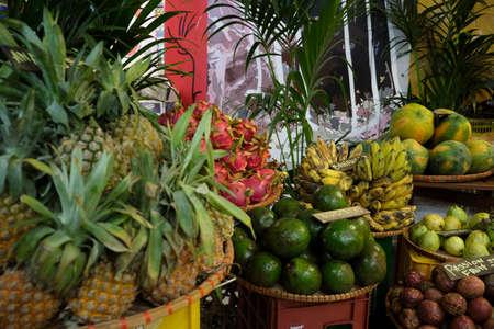 Thai traditional fruit market. Thai Asian tropical traditional fresh ripe fruit