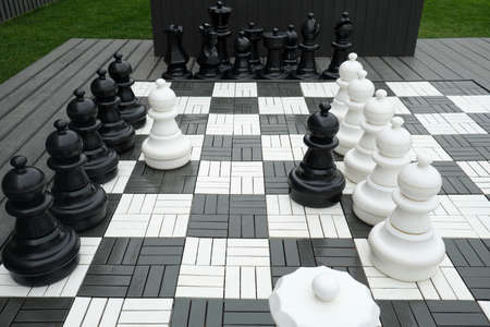 Giant chess game in the park 写真素材