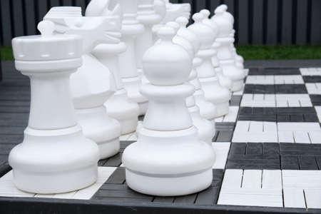 Giant chess game into the park white figure Stockfoto - 131752588